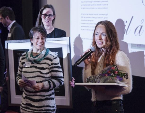 Inger Margrethe Nordqvist fra Min Butler takker for prisen Beste egenbeskrivelse.